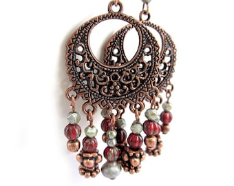 Copper Chandelier Earrings - Burgundy and Sage Green - Bohemian Chandelier Earrings - Boho Copper Earrings