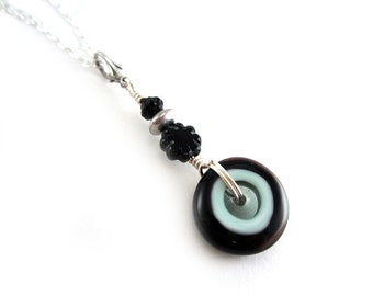 Black Lampwork Glass Disc Necklace - Glass Pendant Necklace - Round Wheel - Black and Aqua Jewelry - Artisan Lampwork Glass Jewelry - SRAJD