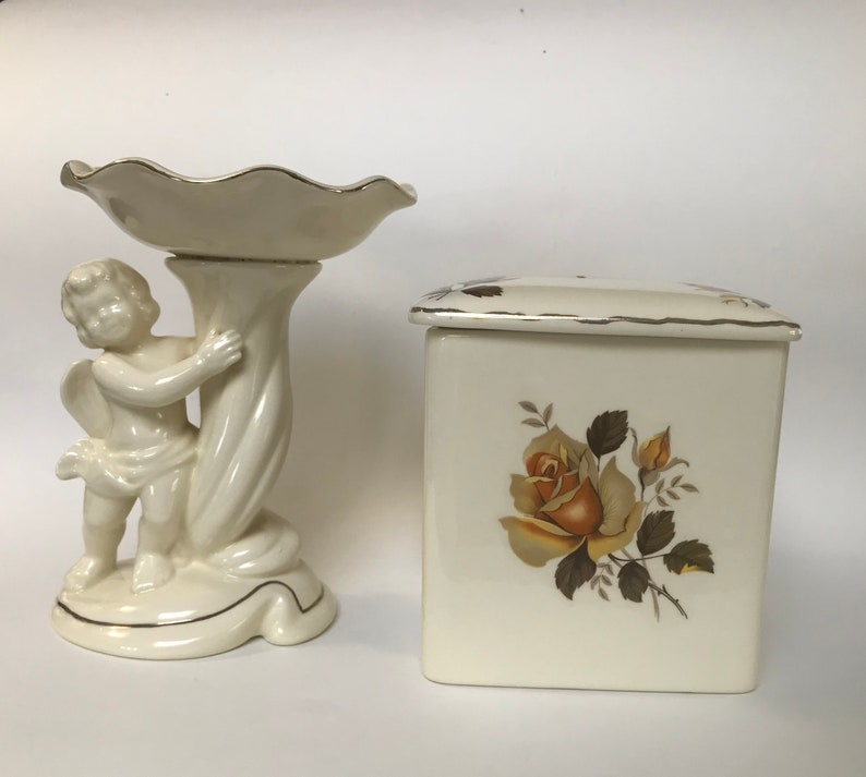 Vintage ceramic Kleenex box and angel stand with scalloped dish