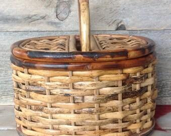 Vintage weaved  basket with lid handle