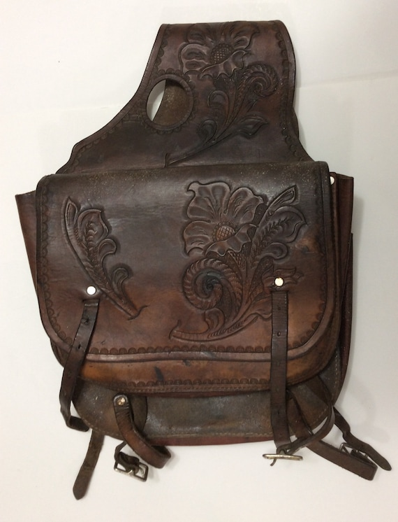 Vintage brown leather hand tooled saddle bags
