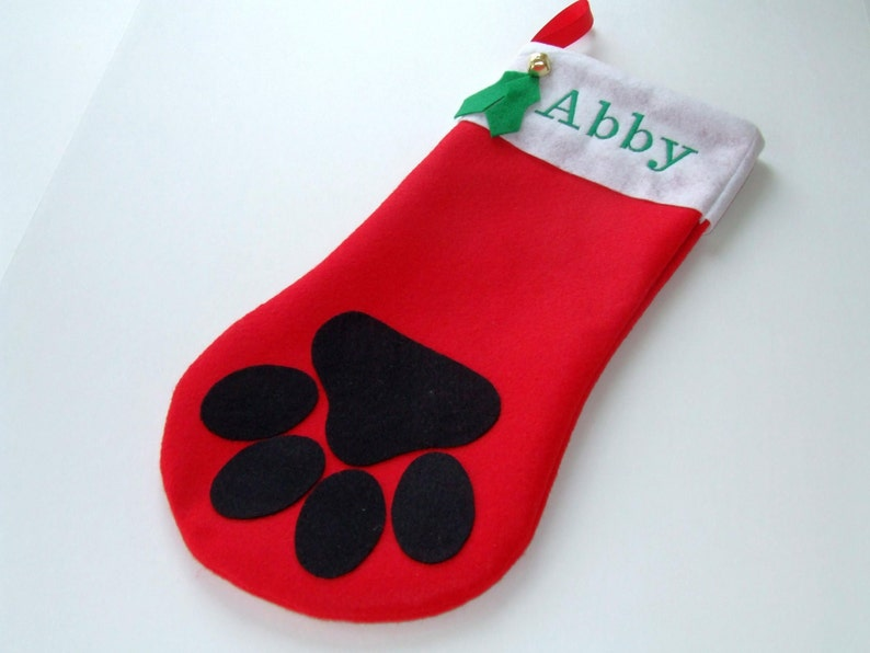 6cf48129bfe Paw Print Christmas Stocking Monogramming extra charge