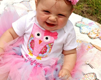 Owl shirt, extra fluffy tutu and hair bow set