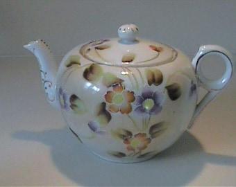 Vintage 1950's ceramic hand painted floral teapot - Nippon Japan