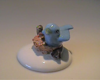Vintage 1960's miniature bone china bluebird in nest with eggs