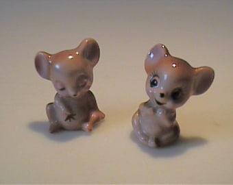 Vintage two miniature Josef Originals brown mice