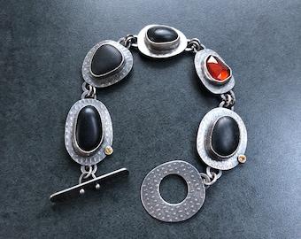 Beachstone and Garnet Bracelet Free Shipping to USA