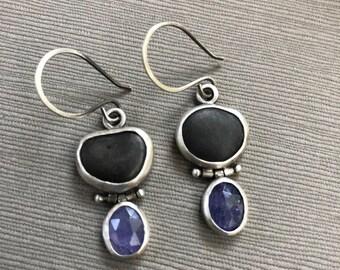 Tanzanite and Beachstone Earrings, One of a Kind
