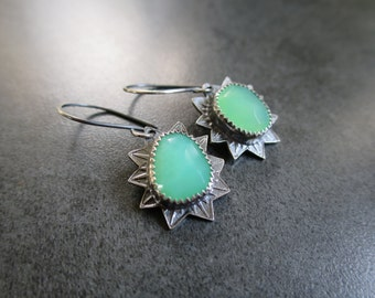 Green Chrysoprase Stamped Silver Earrings