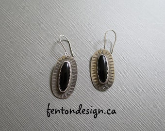 Black Onyx Stamped Earrings, One of a KInd, Sterling Silver, Earrings, Oval