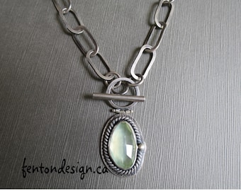 Prehnite Lariat Necklace,Hand forged Chain, Etsy Metal, One of a KIndl
