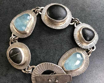 Beachstone and Aquamarine Bracelet Free Shipping to USA