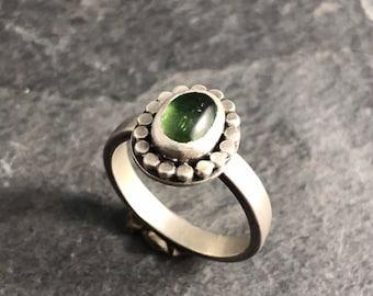 Afghani Tourmaline Green Ring Size 7.25 Handmade