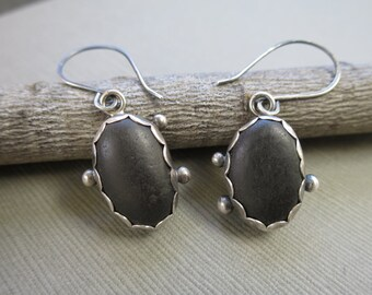 Beachstone Earrings, Sterling Silver Earrings, Dangle Earrings, Beach Stone Earrings, Handmade