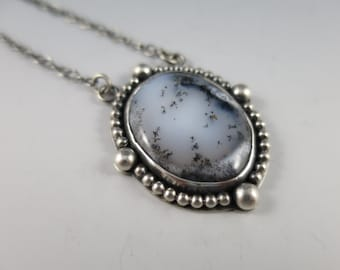 Merlinite Dendritic Opal  Handmade Necklace