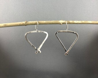 Dangly hoop earrings.  Sterling silver, one of a kind