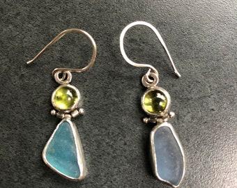 Peridot and Beachglass Earrings, One of a Kind