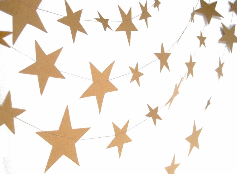 Kraft paper stars garland paper stars birthday party decor image 0