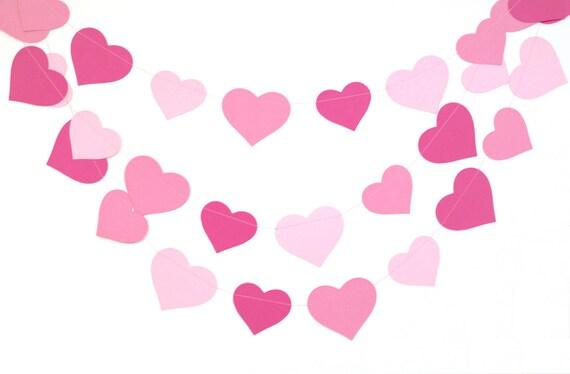 Ombre rosa Herzen Girlande Baby-Dusche-Dekor Rosa | Etsy