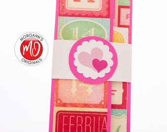Colorful Wallet, Check Holder, Pink Money Holder, February 14th, Love Present, Gift Card Holder, Valentine's Day Gift