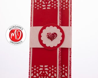 Red Money Holder, Check Holder, Pink Paper Wallet, Gift Card Sleeve, Love Theme, Valentine's Gift