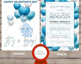 Valentine's Baby Shower Invitation, Baby Shower Invite Boy, Baby Shower Invite Download, It's a Boy, Digital Baby Shower Download, 5x7