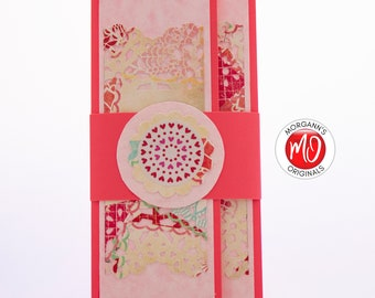 Coral Pink Check Holder, Love Present, Gift Card Holder, Valentine's Day Gift