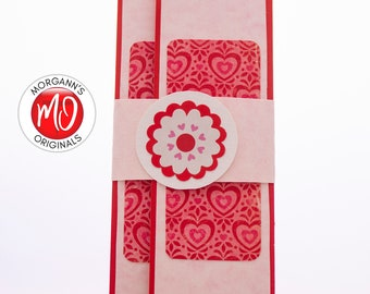 Red and Pink Wallet, Check Holder, Pink Paper Wallet, Gift Card Sleeve, Valentine's Gift