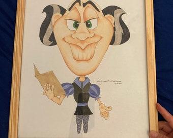 Caricature Art, Original Artwork, Cartoon Art, Framed Artwork, Cartoon Character