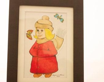 Girl in Red Coat Framed Artwork, Vintage Art, Original Art, Copic Art, Copic Pen Art, Art For Sale, Matted Art