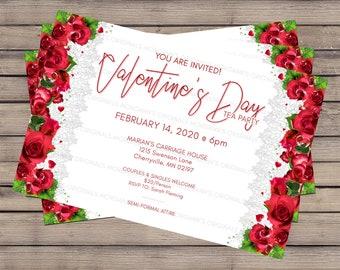 Valentine's Invitation, Valentine Invite, Tea Party Invitation, Red Rose Design, Digital Download, 4x6