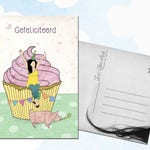 Illustrated birthday postcard / cupcake / party animal / origami / pig / bday / congratulations / happy birthday / illustration / a6