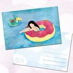 Illustrated postcard / donut / floating / woman / origami / dag / crab / pool / swimming / summer / illustration / a6