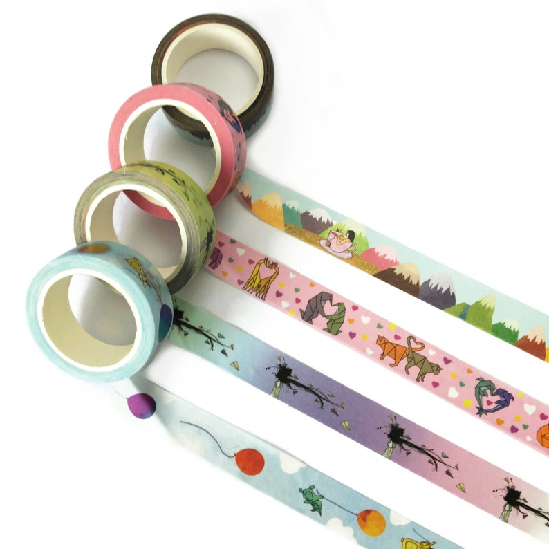 Washi tape  set of 4 new designs  origami tea animals image 0