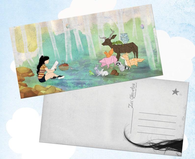 Illustrated postcard / origami / animals / reading / book / image 0