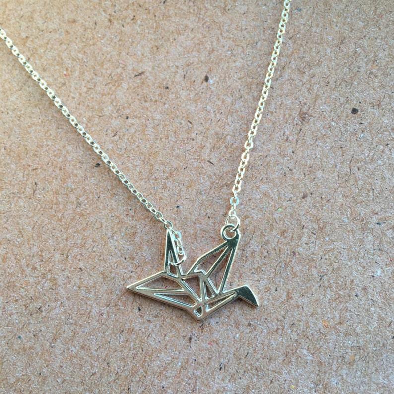 Origami necklace  geometric crane bird silver image 0