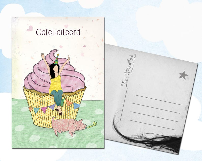 Illustrated birthday postcard / cupcake / party animal / image 0