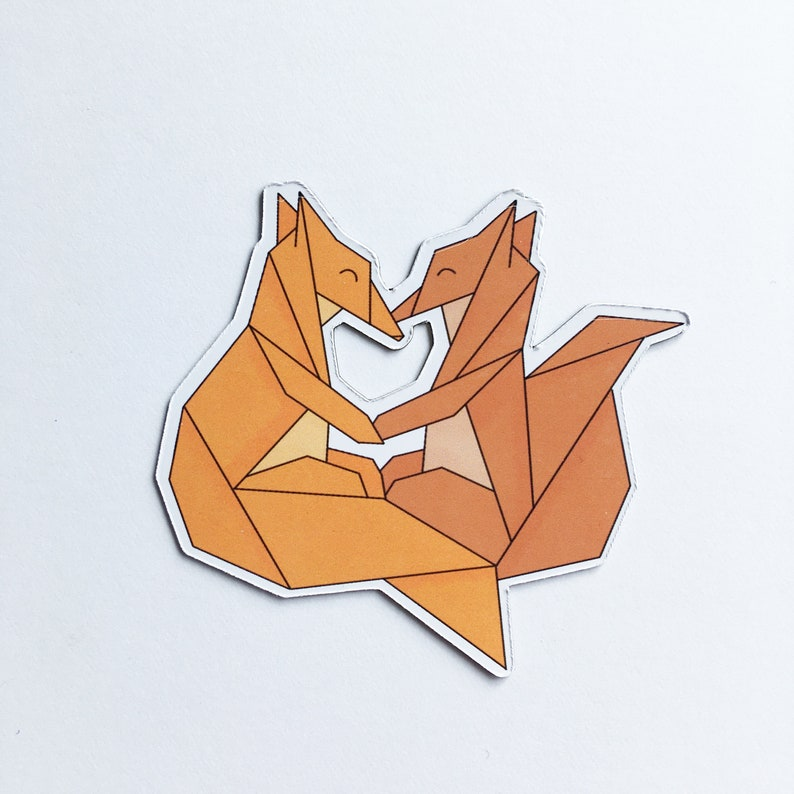 Art magnet with illustration lovely origami animals foxes image 0