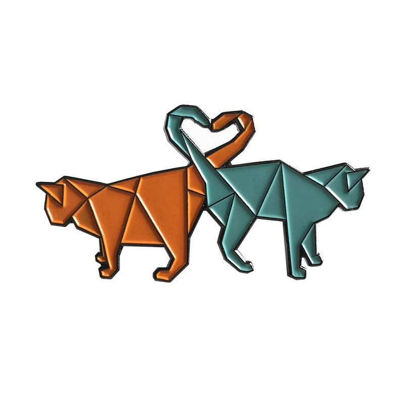 Soft enamel pin origami cats heart purr-fect geometric animals image 0
