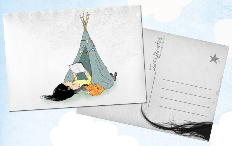 Illustrated postcard / tipi / reading / cat / book / relax / image 0