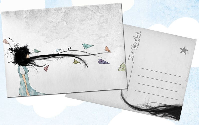Illustrated postcard / origami / paper plane / airplanes / image 0