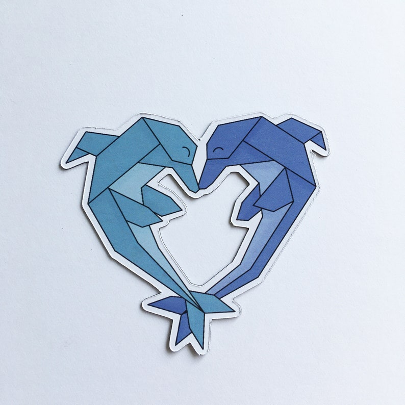 Art magnet with illustration lovely origami animals dolphins image 0