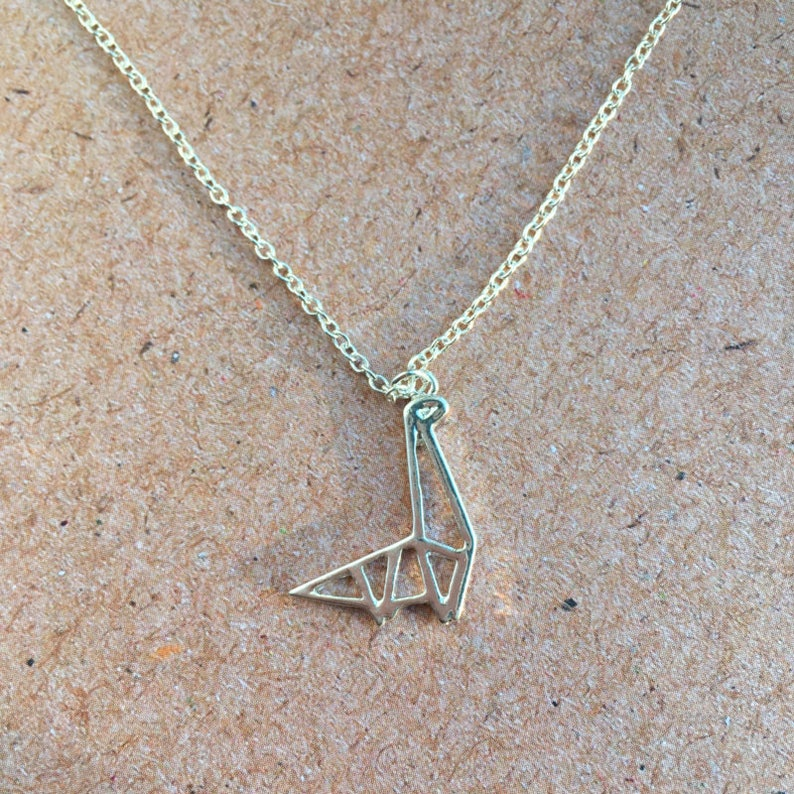 Origami necklace  geometric dinosaur image 0