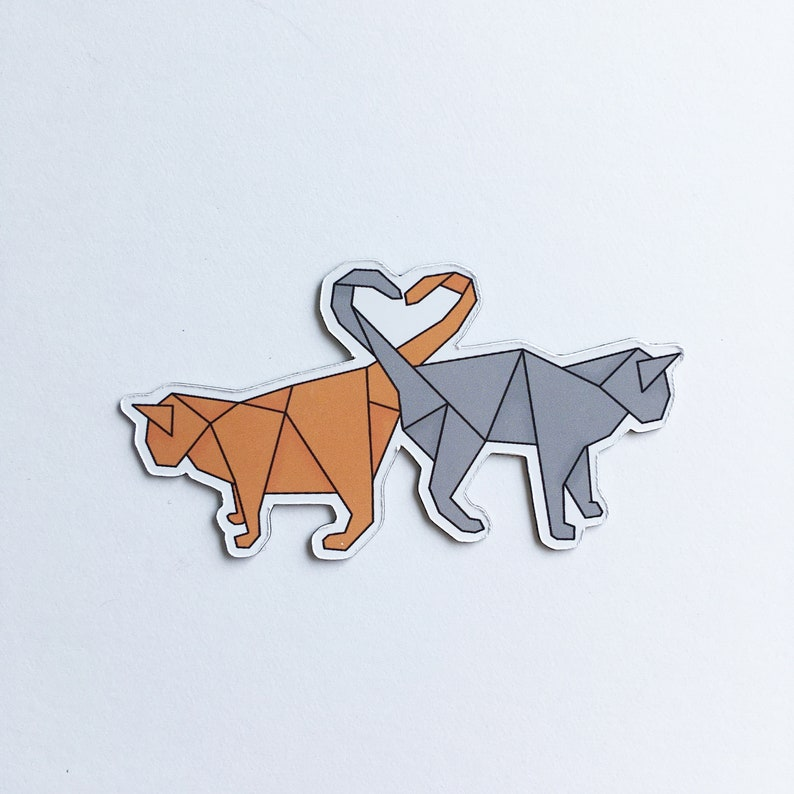 Art magnet with illustration lovely origami animals purr-fect image 0