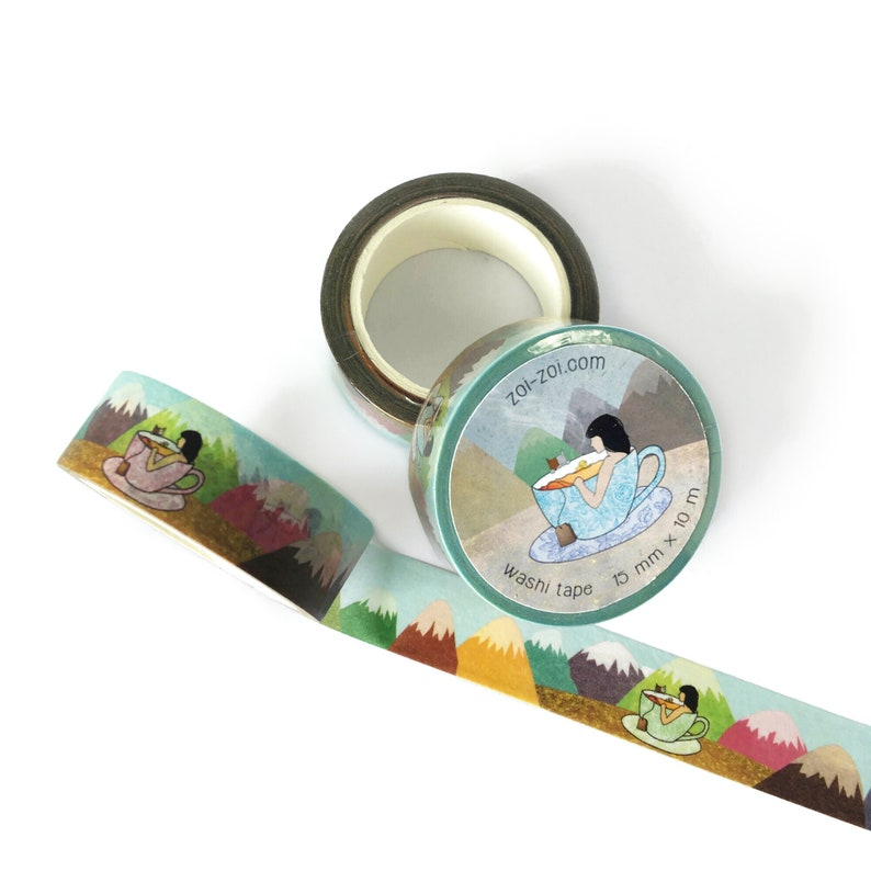 Washi tape  tea-riffic mountains cup of tea bathing relaxing image 0