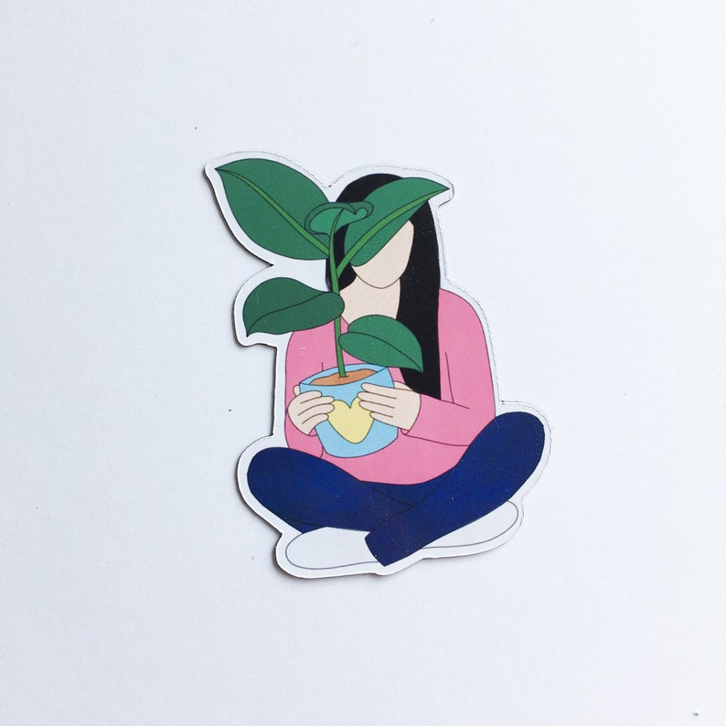 Art magnet with illustration crazy plant lady ficus friend image 0