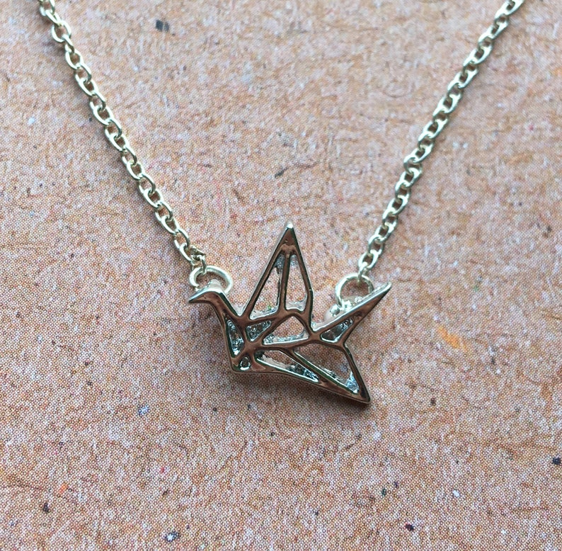 origami necklace  tiny geometric crane pendant little small image 0