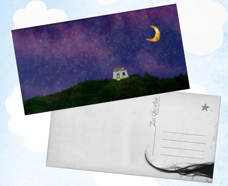 Illustrated postcard / home / house / moon / stars / night / image 0