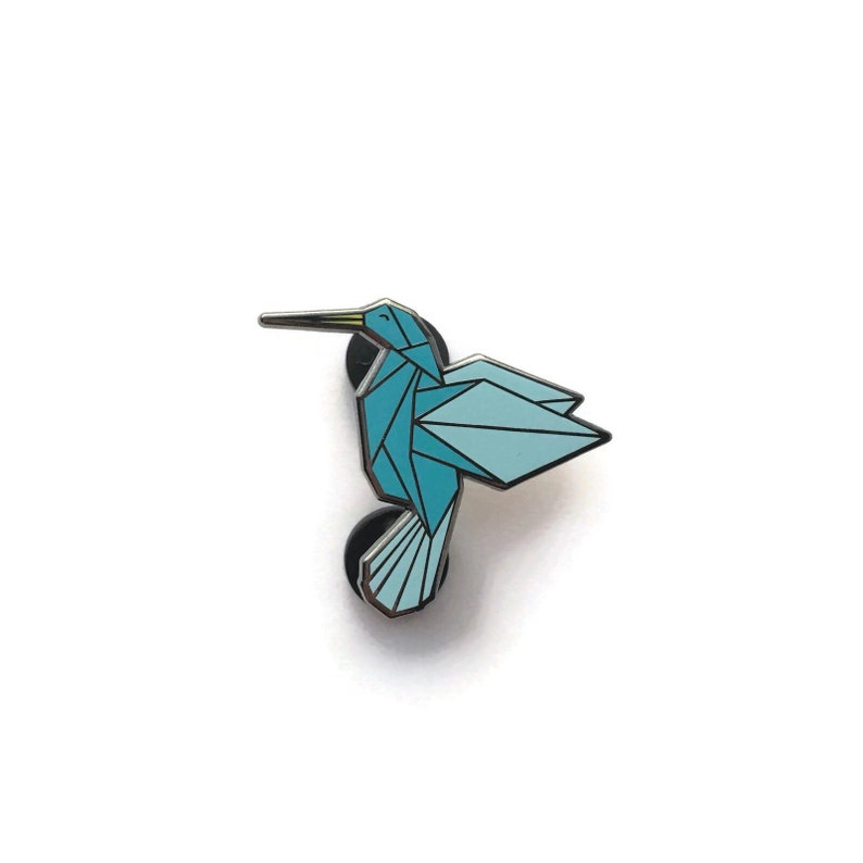 Hard enamel pin blue origami hummingbird bird brooche image 0