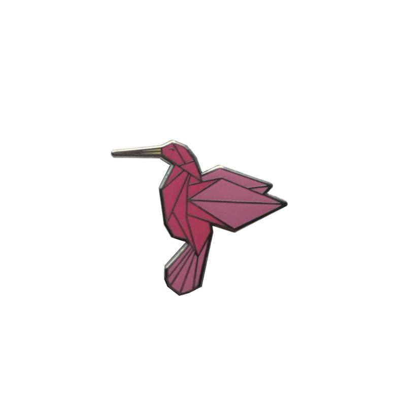 Hard enamel pin pink origami hummingbird bird brooche image 0
